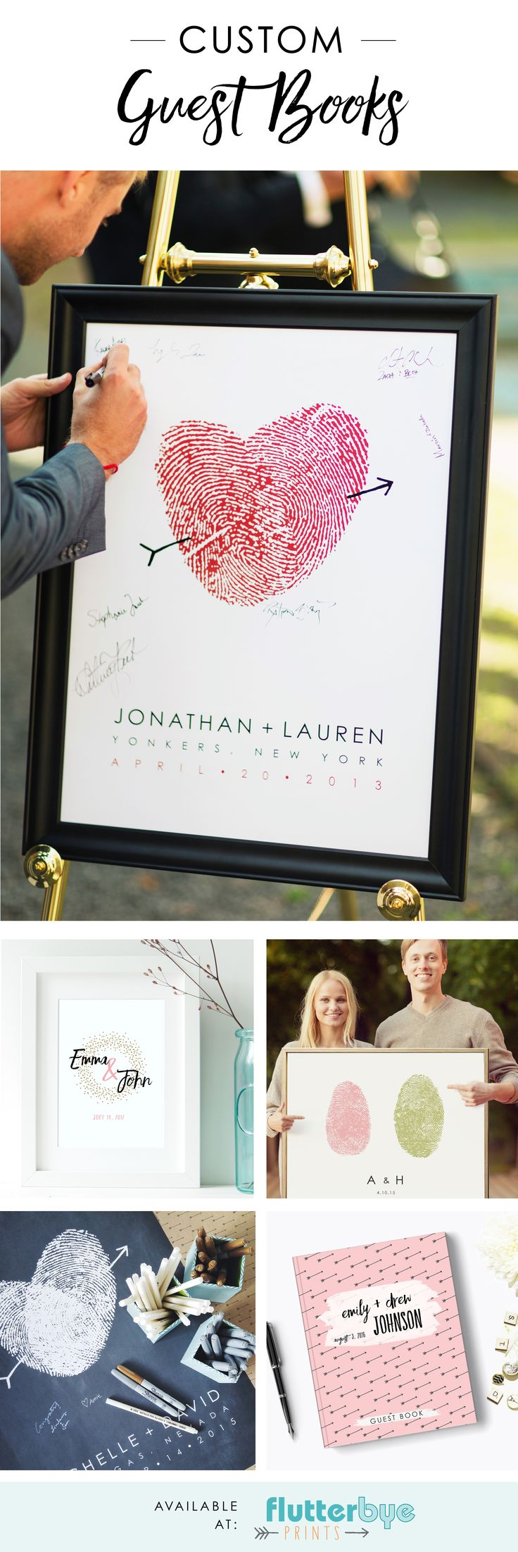 Guest book alternative posters and hard cover guestbooks.  Wedding signs and posters.