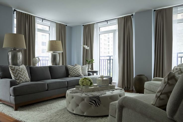 The Elegant Abode: Chic gray and blue living room with blue walls paint color and living room windows ...