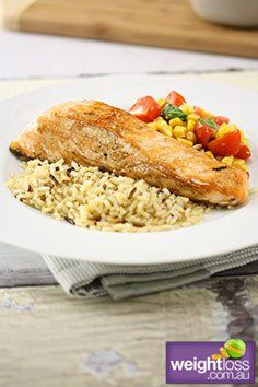 Grilled Salmon & Corn Salsa Recipe. #HealthyRecipes #SalmonRecipes #DietRecipes #WeightLossRecipes weightloss.com.au