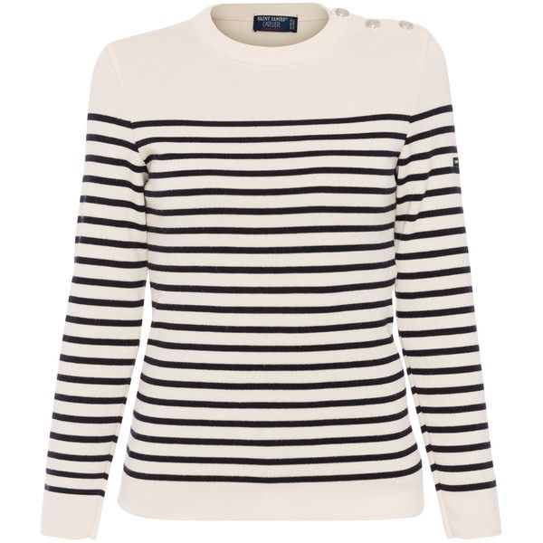 Saint James Maree Ecru And Navy Striped Wool Sweater found on Polyvore featuring tops, sweaters, shirts, stripes, fisherman's sweaters, sailor sweater, aran sweater, breton stripe sweater and striped sweater