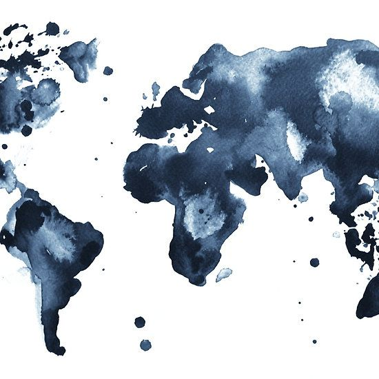Watercolor map of the world (black and white)
