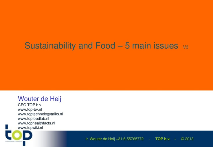 sustainability-and-food-5-main-issues-3-more-topics-version-3 by Wouter de Heij via Slideshare