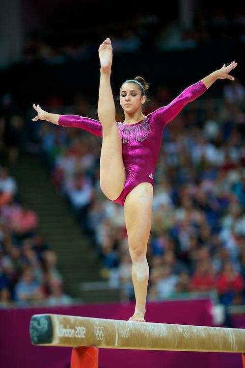 Aly Raisman in the AA competition.  She tied for Bronze and lost the tie breaker.  That must hurt worse than losing outright.