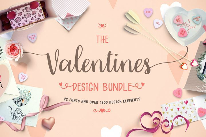 The Valentines Design Bundle is here!  Packed with 22 fonts and over 1200 design elements, this bundle is perfect for all your Valentines projects!  Save 94% off the RRP for a limited time only. Get all these products for only $21.00 USD! Worth $333.00 USD All Products come with an Unlimited Use Commercial License.