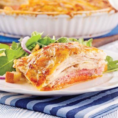 Gratin dauphinois aux deux pommes de terre et jambon - Recettes - Cuisine et nutrition - Pratico Pratique