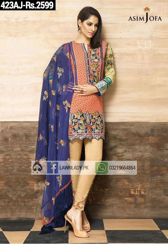 BUY Asim Jofa Replica Linen 2016 3Pcs Embroidered Suit Design#423AJ. **FREE Delivery COD**LIMITED STOCK**VISIT TODAY**