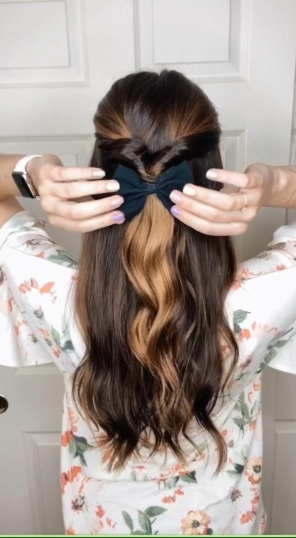 Cute And Easy At Home Half Up Hairstyle Tutorial For Long Hair Incorporating Bows Scrunch In 2020 Summer Hairstyles For Medium Hair Easy Hairstyle Video Half Up Hair