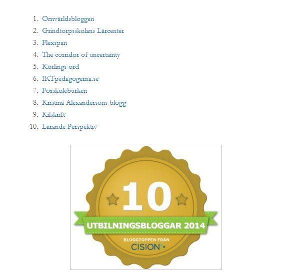 10 bästa skolbloggarna #skolbloggar . Läs mer på fröken Åsas blogg: http://frokenasa.wordpress.com/2014/06/10/tio-i-topp-bloggar-lite-stolt-idag/ . Och läs mer på Cisions blogg: http://www.cision.com/se/bloggtopplista/cision-rankar-bloggar-inom-utbildning-och-pedagogik/ . Det är Linda Grimstahl på Cision som ligger bakom listan:  https://twitter.com/LindaGrimstahl . CisionSverige twittrar: https://twitter.com/CisionSverige/favorites