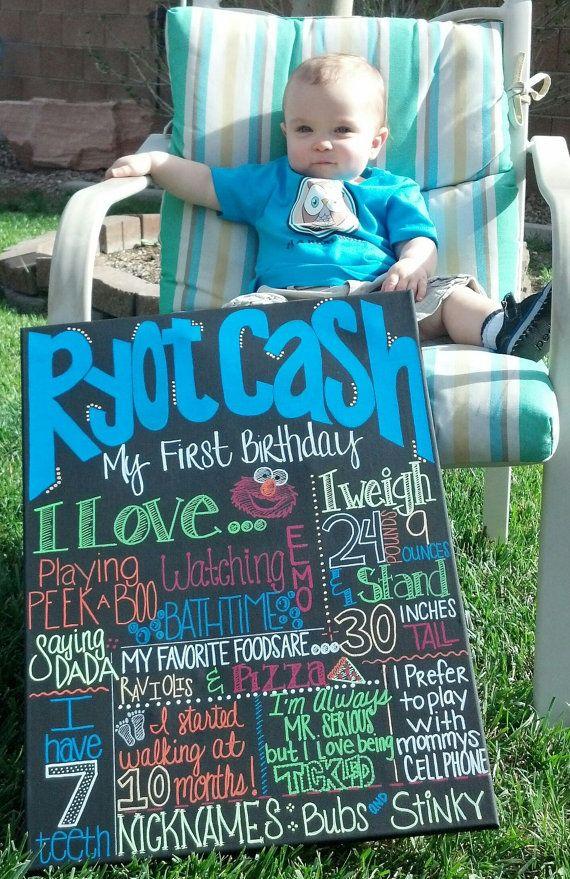 Custom handmade first birthday canvas/poster via Etsy