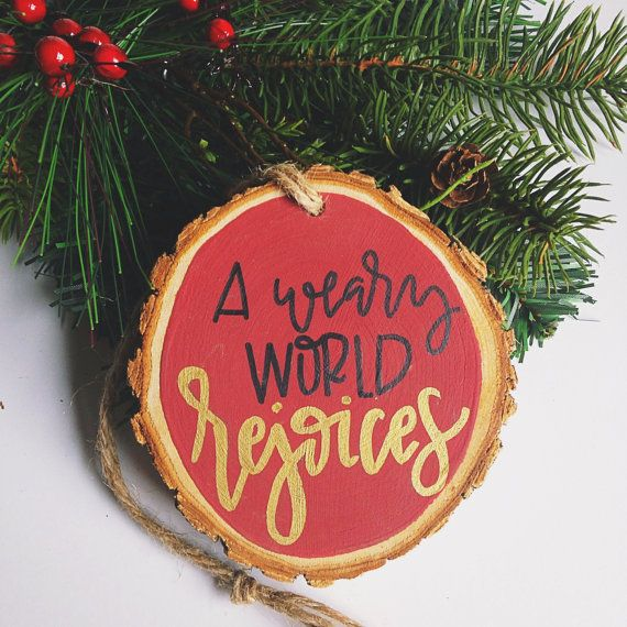Beautiful woodslice ornament to remind you of the specialness of this Christmas season. Product Details: Woodslice (approx 3.5in across) Acrylic paint Jute twine