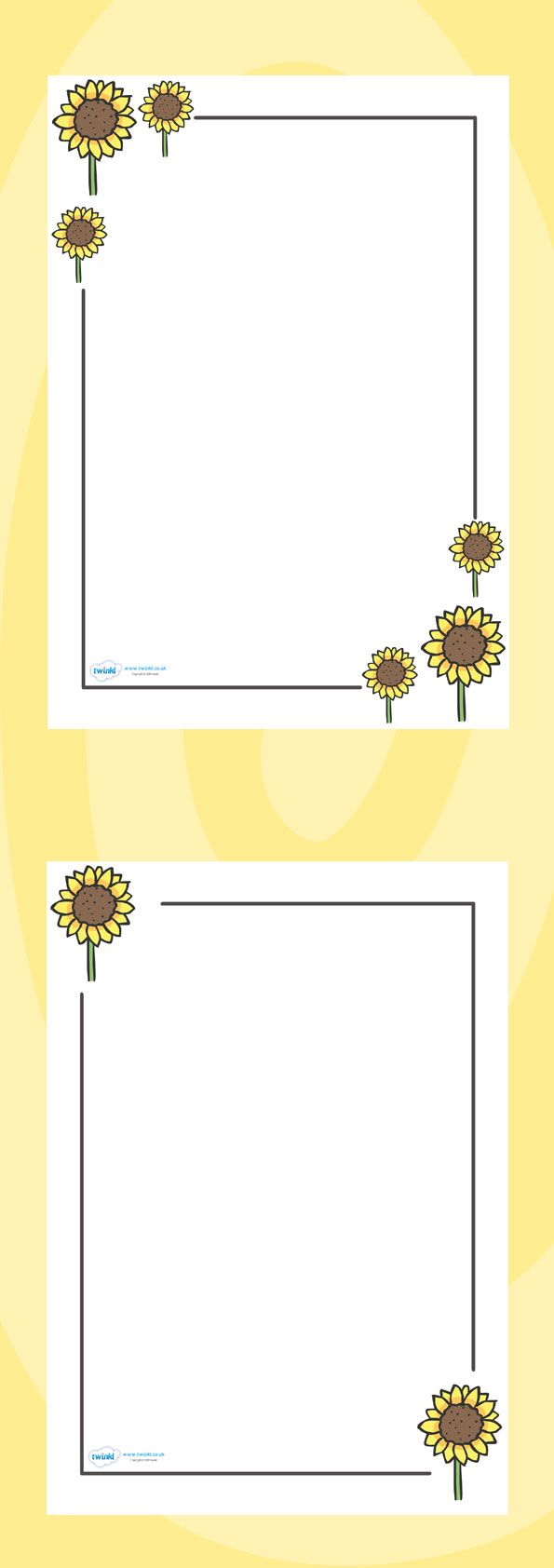Classroom Design Page : Twinkl resources gt sunflower page borders classroom