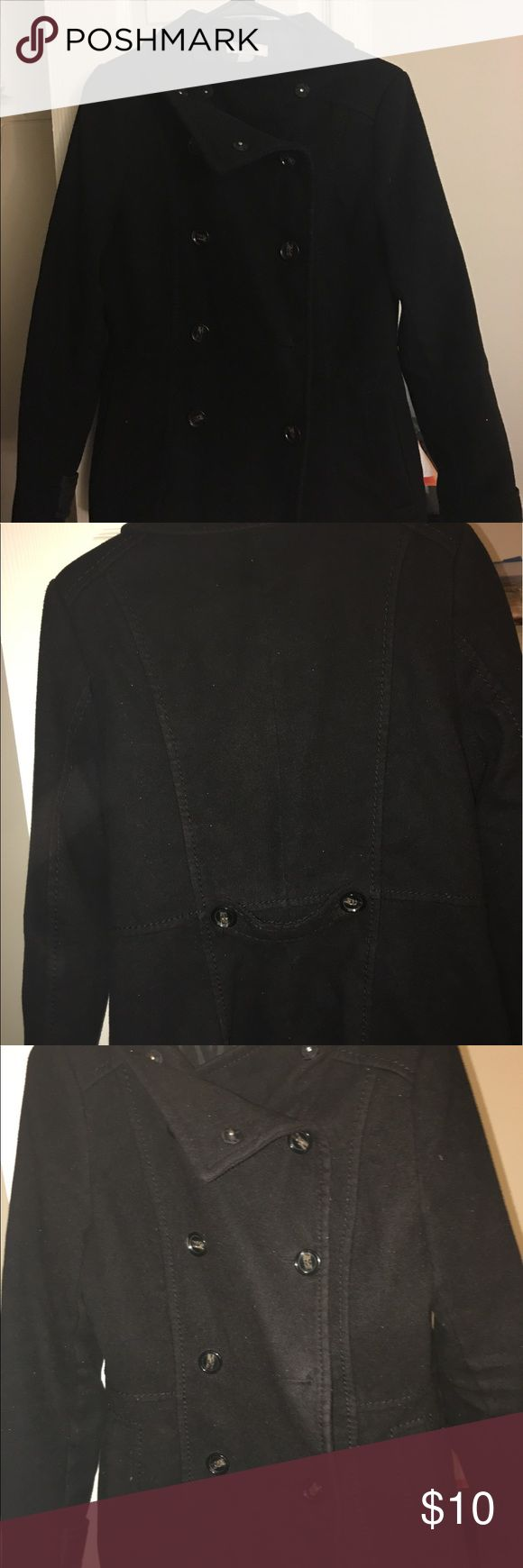 Black pea coat Double breasted  peacoat from H&M, 3rd button missing color Black. Used still in good condition H&M Jackets & Coats Pea Coats