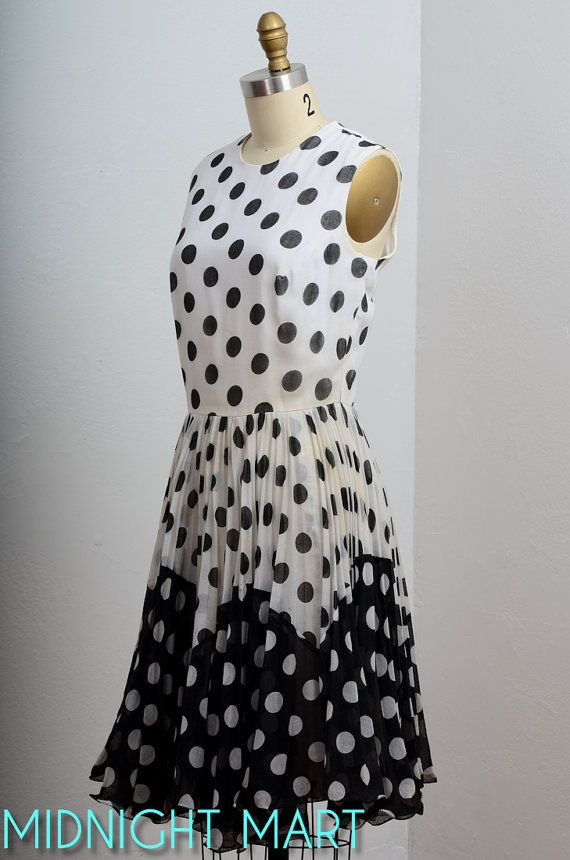 Skirt 1960s dress 60s polka dots black and white by midnightmart