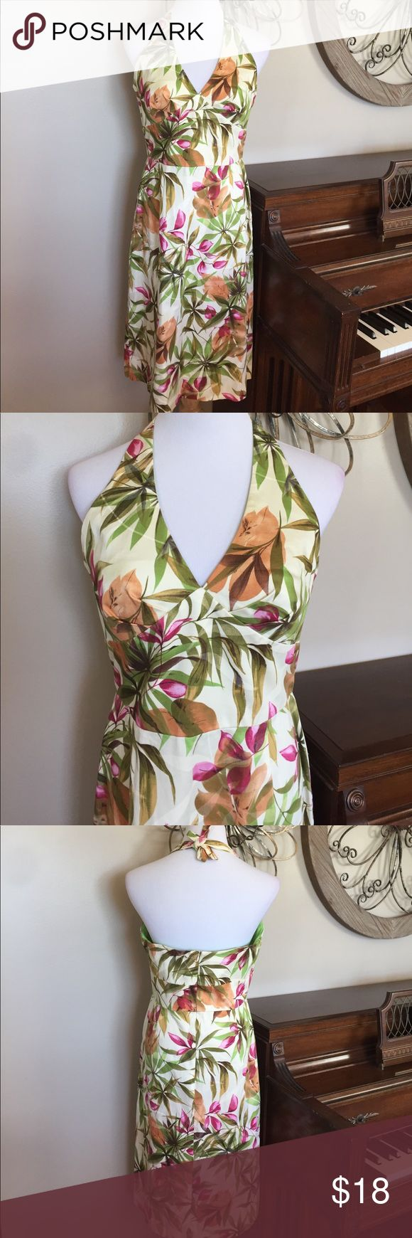 Donna Ricco Size 12 Tropical Halter Dress Excellent Condition! Size 12 by Donna Ricco - 97% Cotton 3% Spandex Donna Ricco Dresses Midi