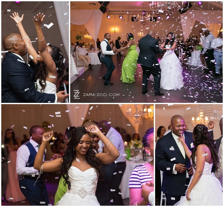Confetti canon for your first dance.  This is a continious canon that actually pumps confetti for the full duration of the first song.  See more of this wedding on the Zarazoo Website.  http://www.zara-zoo.com/blog/val-de-vie-wedding-photos/