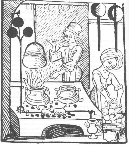 For most of the Middle Ages, there were no kitchens in the modern sense. Cooking – even in the larger houses of the nobility – was carried out in a hearth in the main living space, which also served as a kitchen and dining room. This was done for simple heating efficiency.