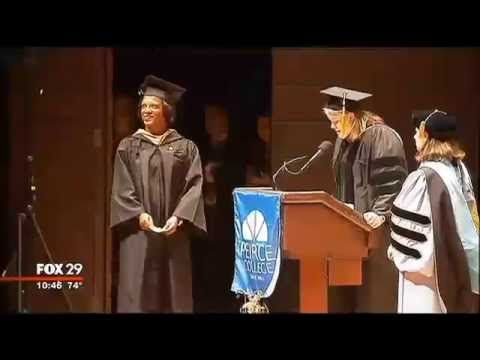 Marine Surprises Mother At Peirce College Graduation:  Mom Who Put College on Hold to Raise Her Children Gets Huge Surprise as She's About to Accept Her Diploma at Graduation