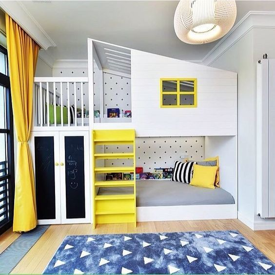 Go to Bunk Bed, Interiors, White, Yellow,  Kids Rooms, Teen Rooms, Bedroom, Bunk House, Chalkboard doors, mommo design