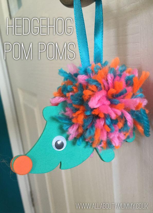 Hedgehog Pom Pom decorating kits kids crafts easy crafts fun for kids