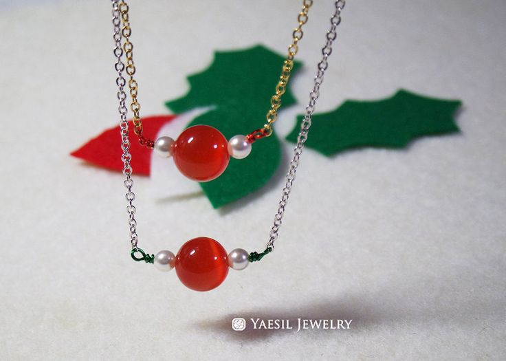 Christmas Necklace, Red Necklace, Christmas Jewelry, Christmas Gift by YaesilJewelry on Etsy