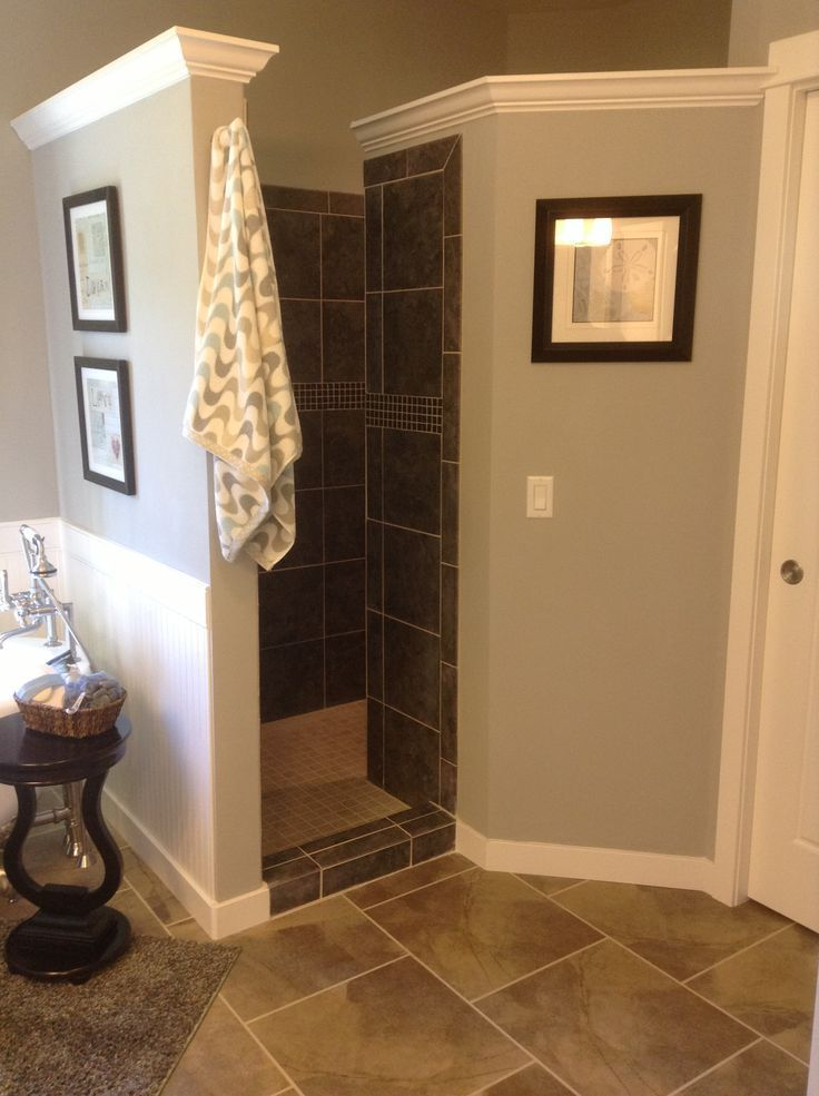 walk-in shower - great way to keep air circulation and not worry about cleaning a glass door or washing curtains. Love this!