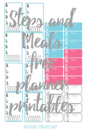 Steps and meals tracker free planner printable with silhouette file. Print and cut these stickers to track steps from your fitbit or jawbone and keep track of healthy meals. Sized for the Happy Planner and Erin Condren planners.
