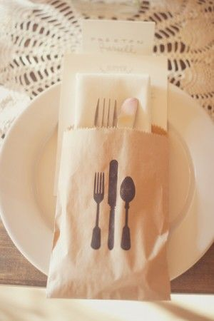 Brown Paper Bag Wedding Utensil Wrap...super cute idea