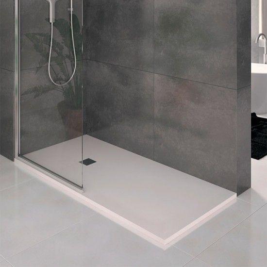 Plato de ducha resina carga mineral LISO extraplano antideslizante ANCHO hasta 70 cm.A MEDIDA Cuarto de Baño.com