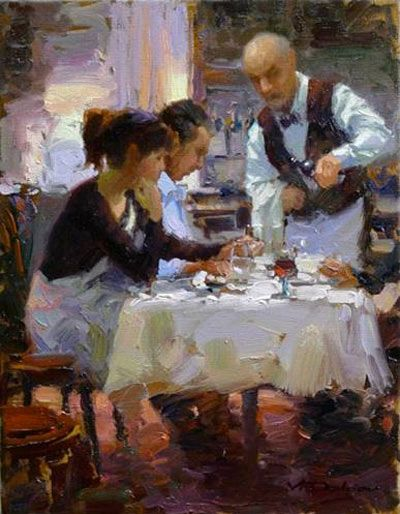 "OPA Salon Gold Medal Award went to Vadim Dolgov for his piece ""Waiter."" See more award winners at http://www.outdoorpainter.com/news/events-and-winners-at-crooked-tree.html"