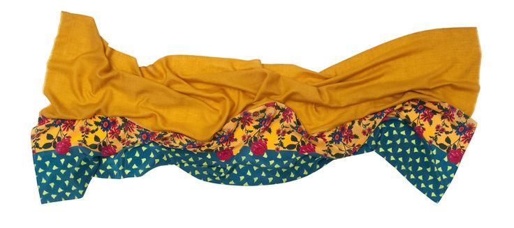 Florenz · Carmen Honey Pashmina handwoven cashmere scarf + printed silk