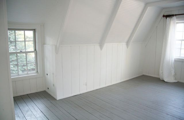 Gray painted floors, white plank walls - Simply White, Platinum Gray (Benjamin Moore)