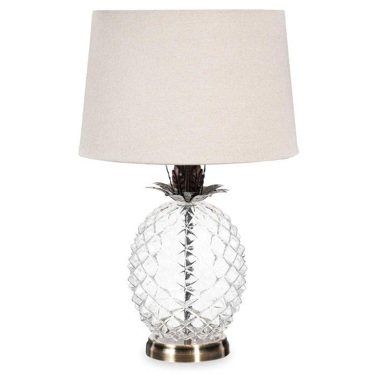 Lámpara piña de cristal con pantalla beis MALP