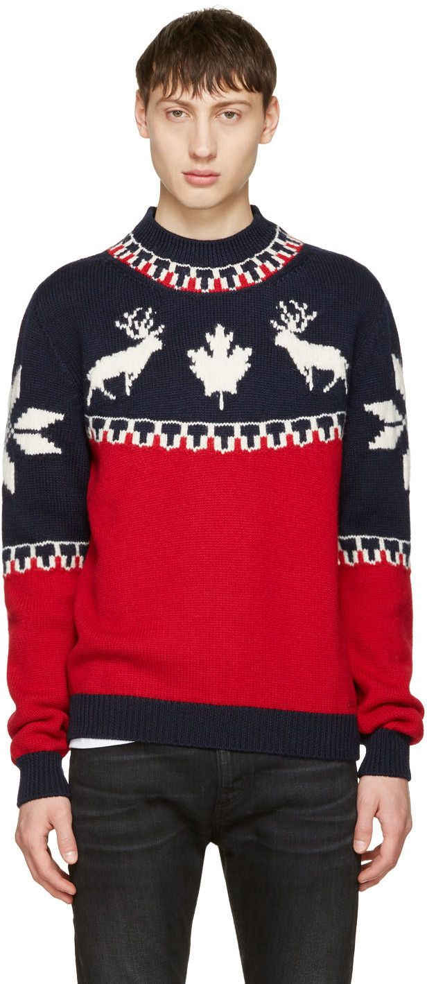DSQUARED2 Tricolor Reindeer Sweater. #dsquared2 #cloth #sweater