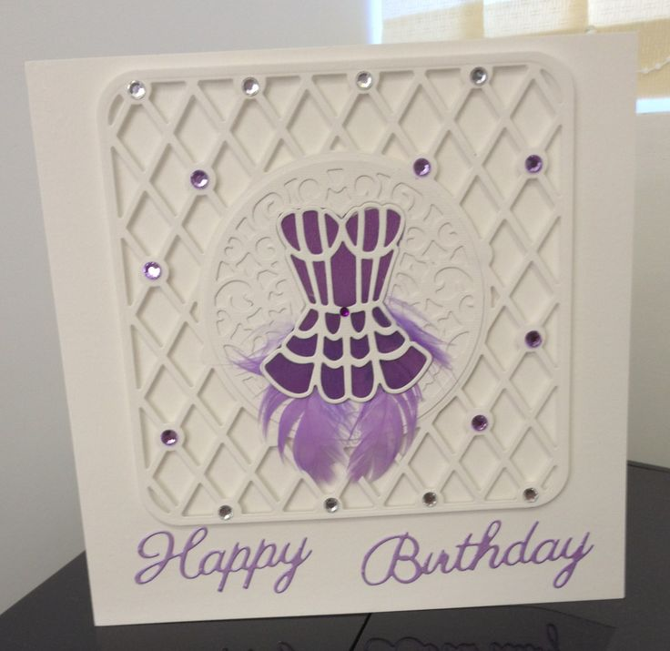 Birthday card in lilac & white made with Tonic dies