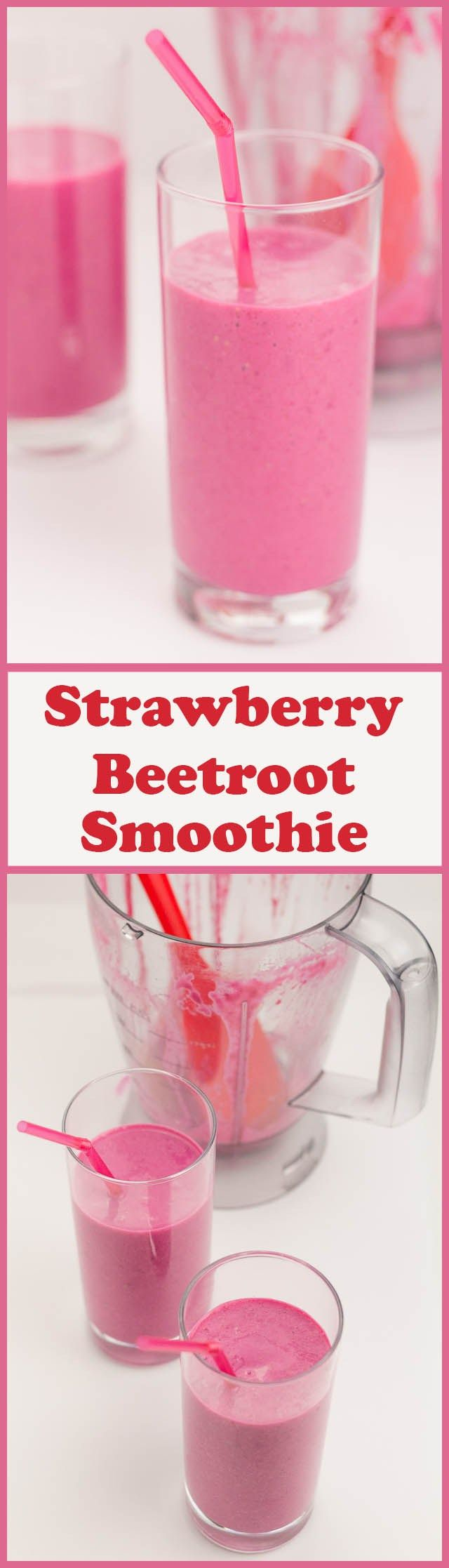 This quick healthy strawberry beetroot smoothie is made in just minutes from only three ingredients. Not only that, it packs all of your daily recommended vitamin C into one glass. Now how's that for a vitamin boost?