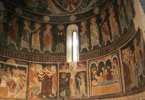 Sardinia Church Pictures: Fresco in Santissima Trinita Church, Sardinia