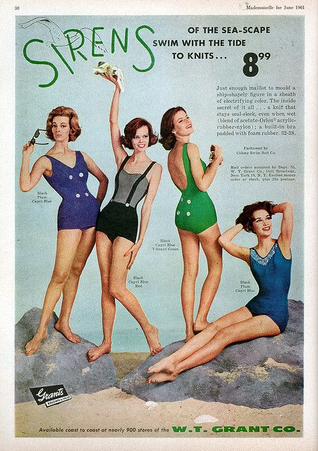 "Sirens swimware ad  ""Mademoiselle"" magazine  June 1961"