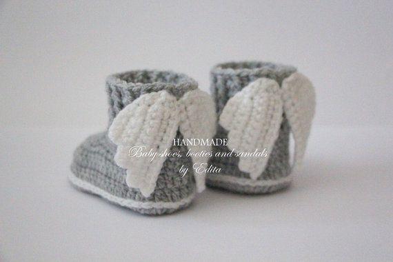 Crochet baby booties baby shoes boots wings angel by editaedituke