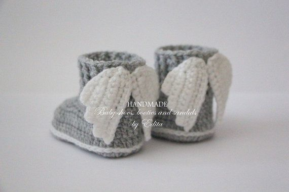 Crochet baby booties baby shoes boots wings angel by editaedituke