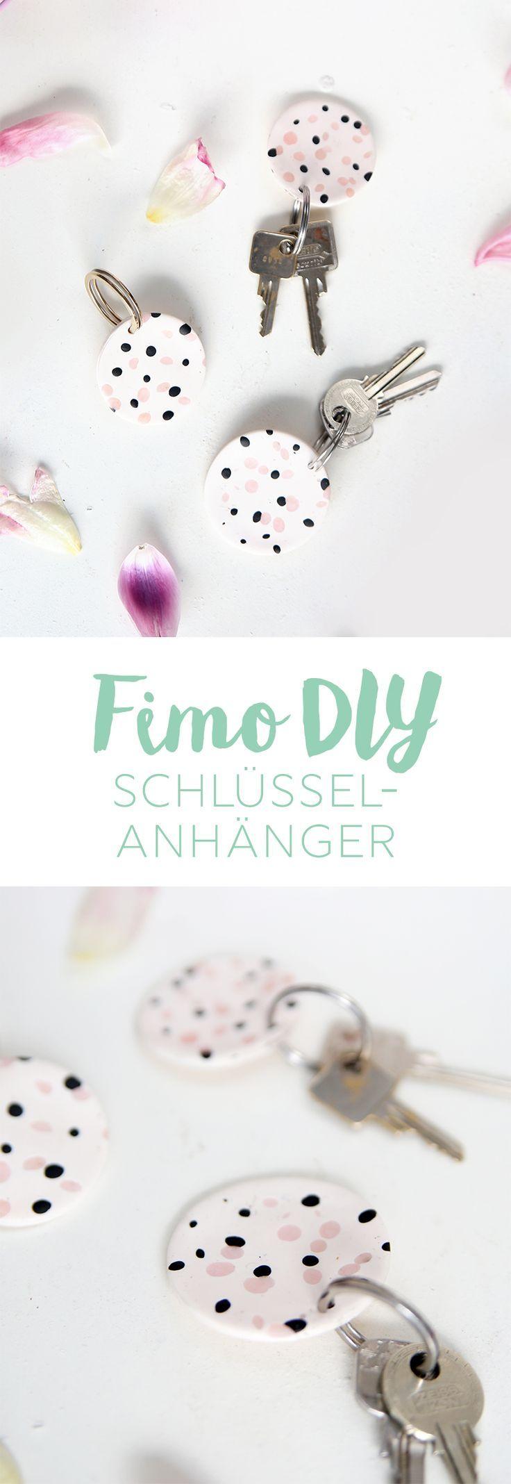 Kreative DIY Idee: Selbstgemachte Schlüsselanhänger aus Fimo / Polymer Clay mit Sprenkeln. Süße DIY Geschenkidee