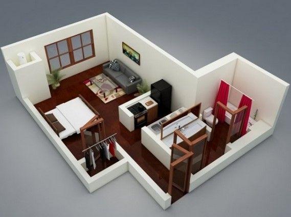 Gambar Denah Desain Apartemen Studio Minimalis 3D 1