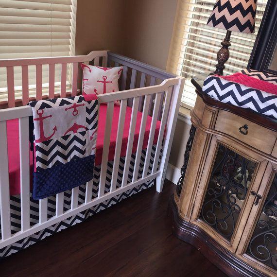 Girl Crib bedding Baby Bedding Crib Set by CustomBEBEtextiles