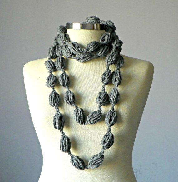 Sciarpa invernale, sciarpa Infinity, uncinetto collana fibra grande bolla, accessori donna, UNDER10USD grigio scaldacollo sciarpa anello grosso
