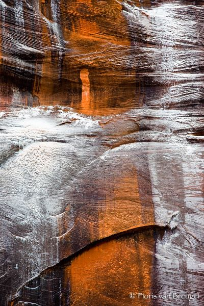 """""""The Tiger"""" ~ ice and snow on the canyon wall, Zion National Park, Utah ~ the scale can be deceiving, large crack @ bottom left is about 50 feet long. Photo: Floris van Bruegel"""