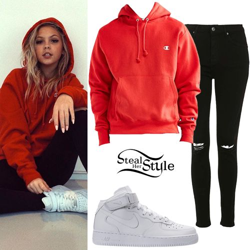 Jordyn Jones posted a picture on instagram a couple of days ago wearing a Champion Reverse Weave Hoodie Sweatshirt ($54.00), Topshop Moto Ripped Jamie Jeans ($75.00) and Nike Air Force 1 Mid Sneakers ($94.99).