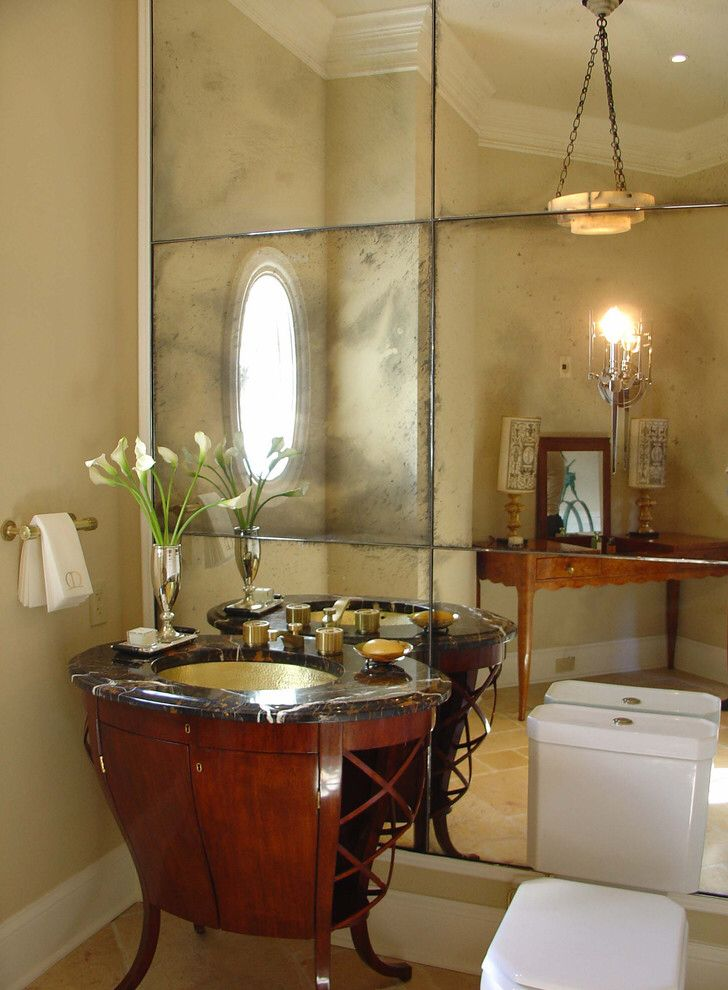 Bathroom Attractive Powder Room Ideas With Towel Hanger And Rectangle Mirror With White Frames