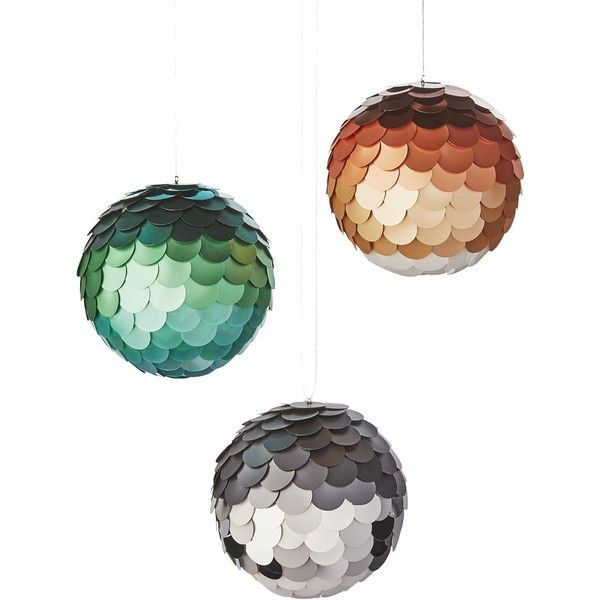 Paiette Ball Ornaments ❤ liked on Polyvore featuring home, home decor, holiday decorations, modern home accessories, modern ornaments, modern home decor and modern decorative bowl