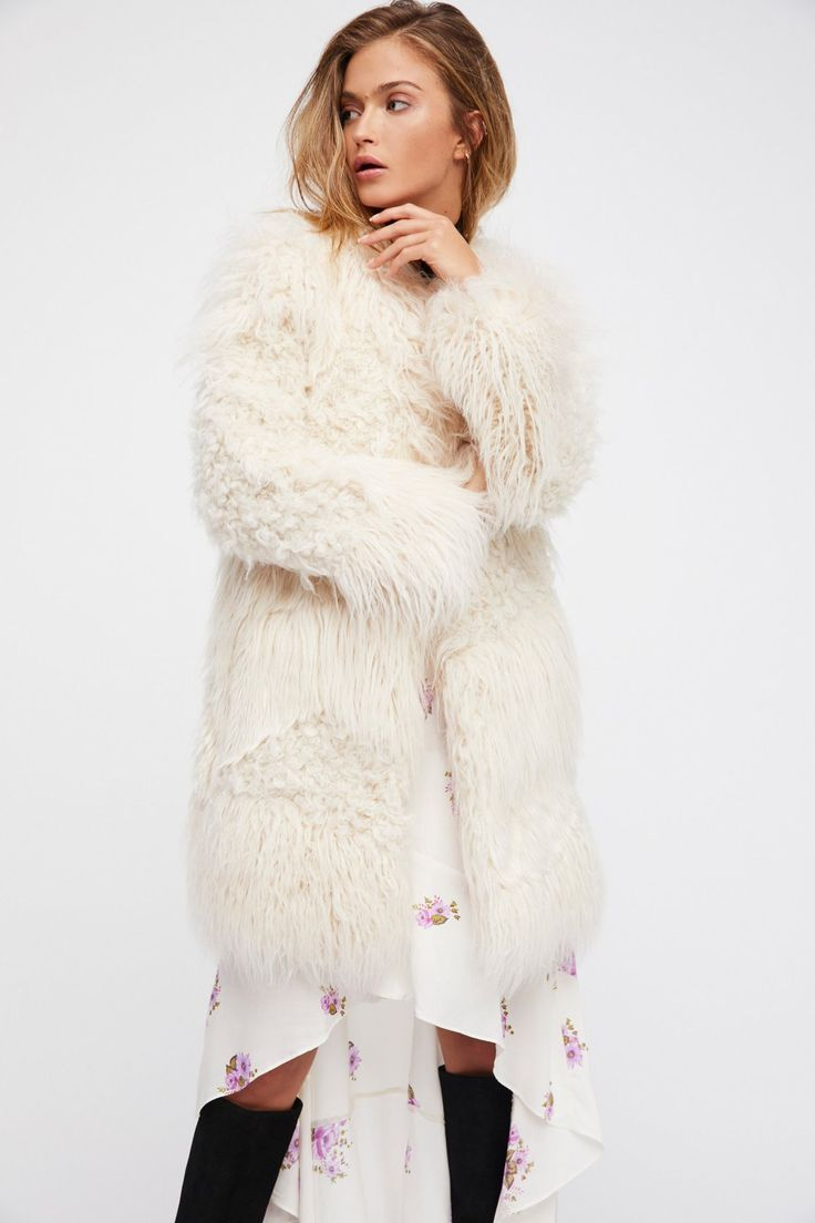 Zadig & Voltaire Ecru Lamy Faux Fur Coat at Free People Clothing Boutique