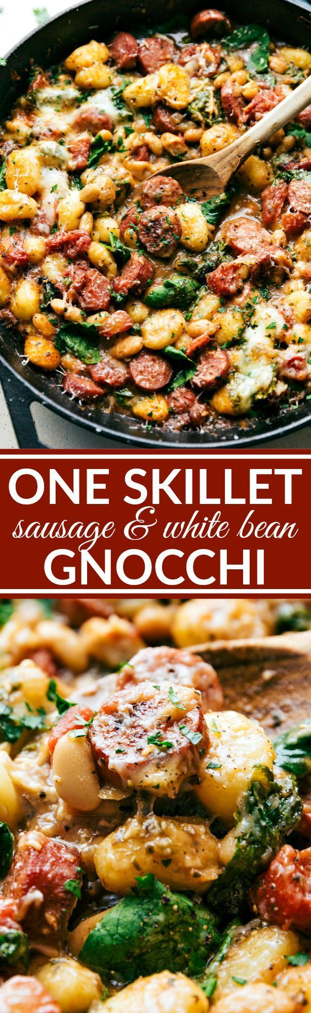 Only ONE skillet needed for a delicious 30 minute dinner recipe. Garlic, onion, sausage, white beans, gnocchi, tomatoes, and spinach plus spices and cheese mix together to make an incredible dinner in thirty minutes. Recipe via http://chelseasmessyapron.com