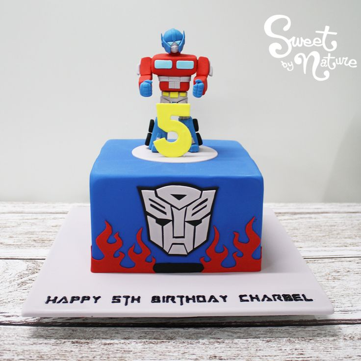 Charbel's 5th birthday cake was Transformer's themed, complete with an Optimus Prime cake topper! | Made by Sweet by Nature, Melbourne VIC